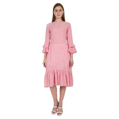 Leofab Party Wear New Fashioned Pink Casual Dress Profile Picture