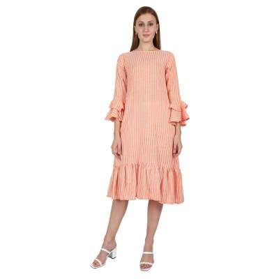 Leofab Party Wear New Fashioned Orange Casual Dress Profile Picture