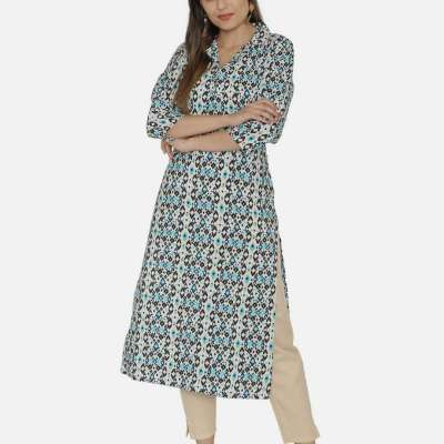 SUNSIM FASHION - Abstract Print Assymetric A-Line Kurta Profile Picture